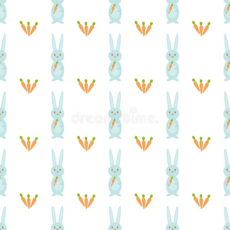 Modèle sans couture de vecteur avec les lapins et les carottes mignons Thème heureux de Pâques illustration stock