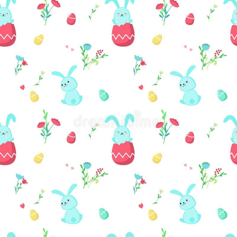 Modèle sans couture de vecteur avec les lapins mignons de Pâques illustration libre de droits