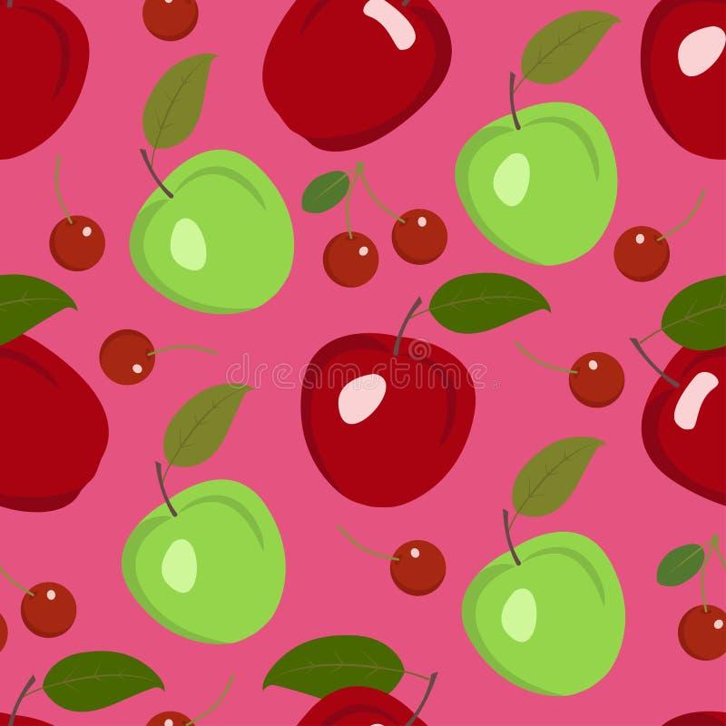 Modèle sans couture de vecteur avec les pommes et les cerises rouges et vertes sur le fond rouge illustration stock