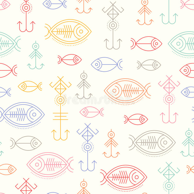 Modèle sans couture de vecteur avec les signes de pêche décrits illustration libre de droits