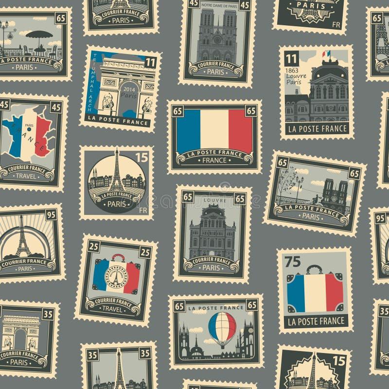 Modèle sans couture de vecteur avec les timbres-poste français illustration stock