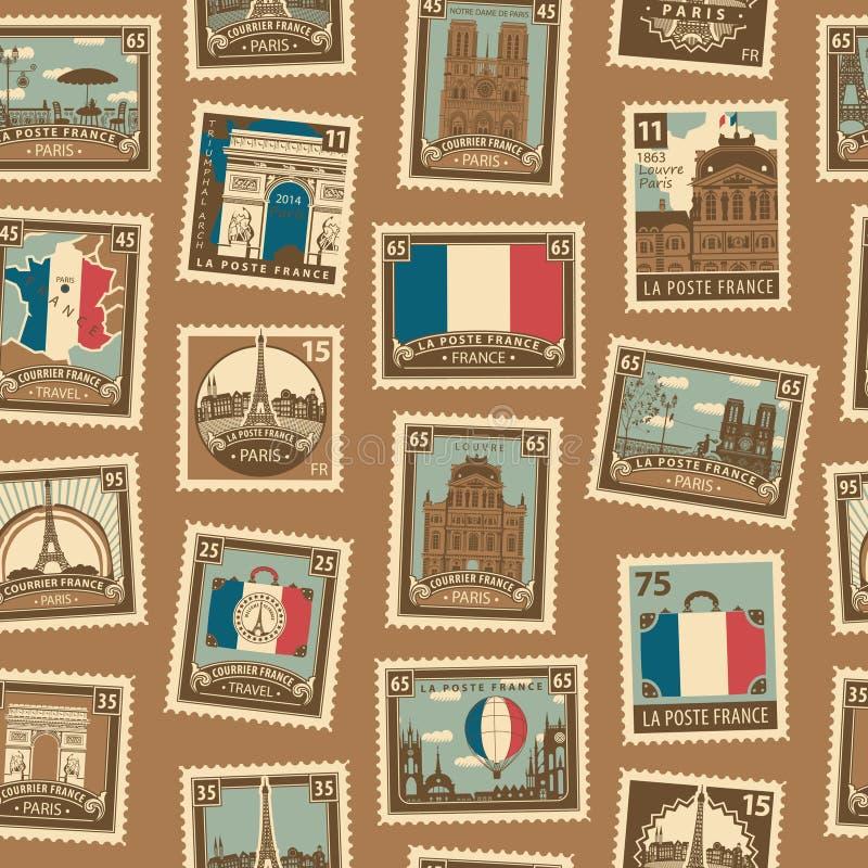 Modèle sans couture de vecteur avec les timbres-poste français illustration libre de droits