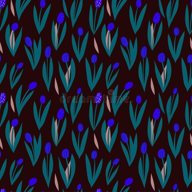 Modèle sans couture de vecteur avec les tulipes bleues décoratives sur un fond foncé, ornement naturel contrastant illustration libre de droits