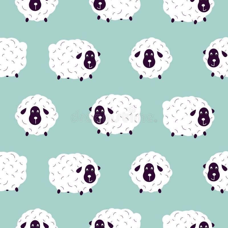 Modèle sans couture de vecteur de bébé de garçon mignon de moutons illustration stock