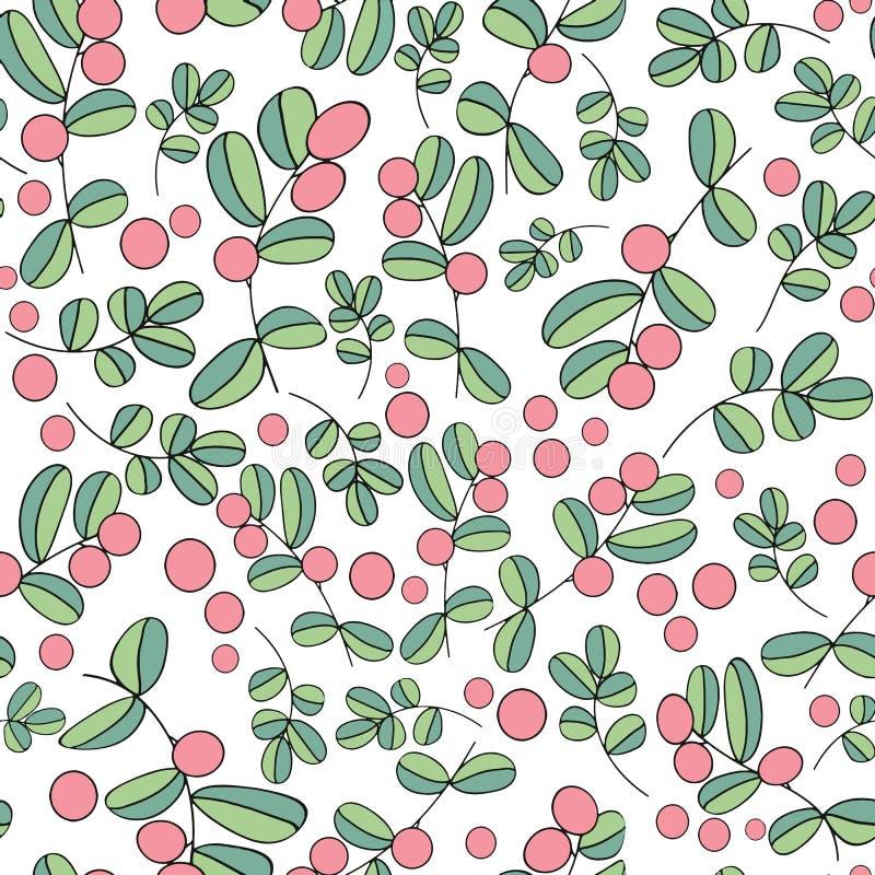 Modèle sans couture de vecteur de baies de myrtille sur le fond blanc illustration stock