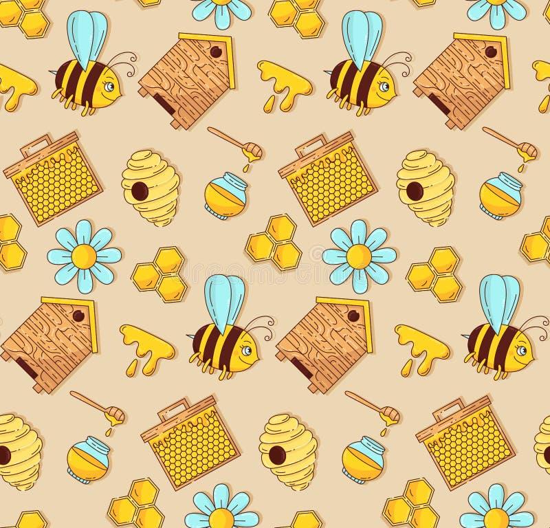 Modèle sans couture de vecteur de bande dessinée d'abeille de miel illustration libre de droits