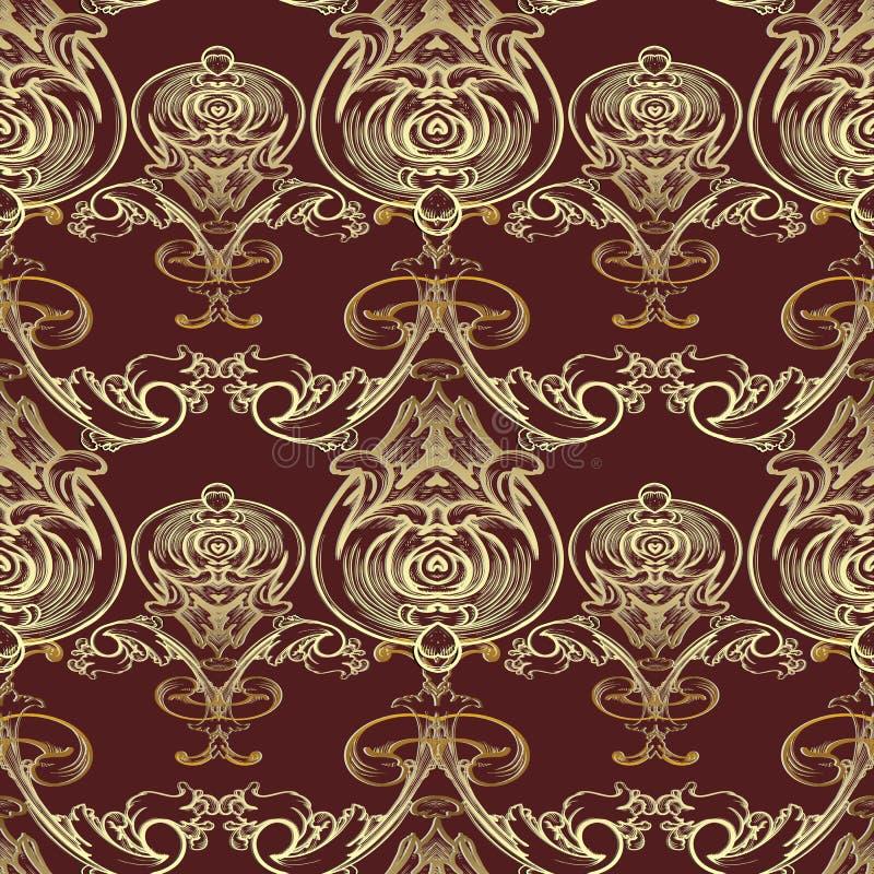 Modèle sans couture de vecteur baroque Backgrou floral rouge foncé de damassé illustration libre de droits
