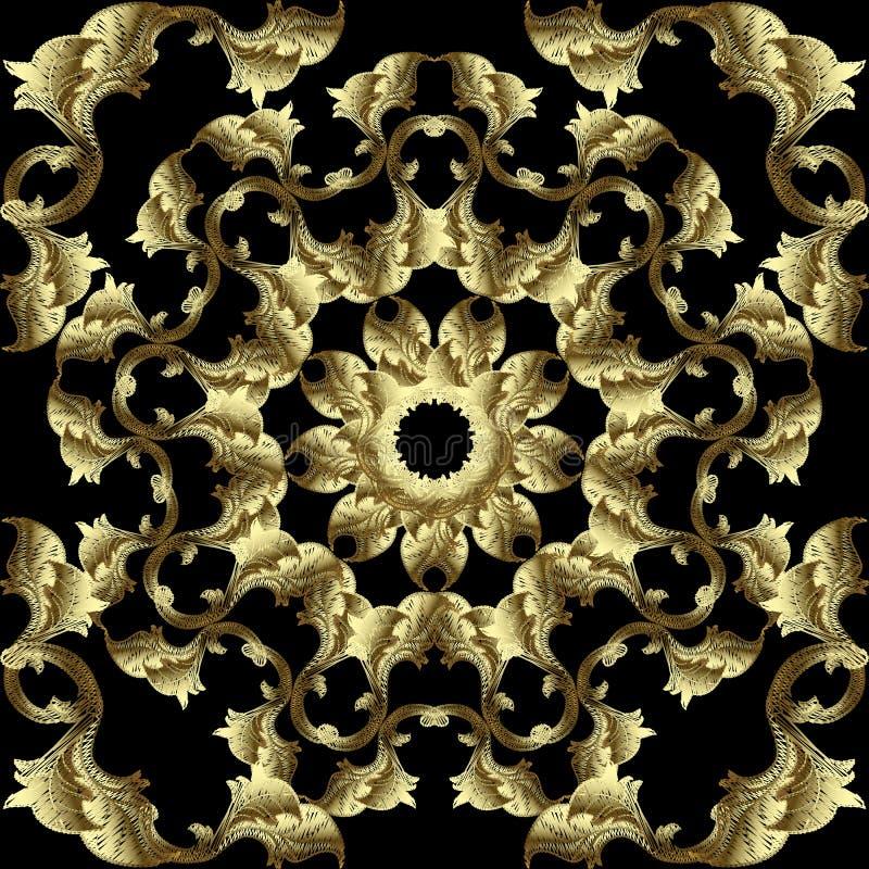 Modèle sans couture de vecteur baroque de broderie de l'or 3d Fond grunge texturis? Ornement feuillu de tapisserie de cru dans le illustration stock