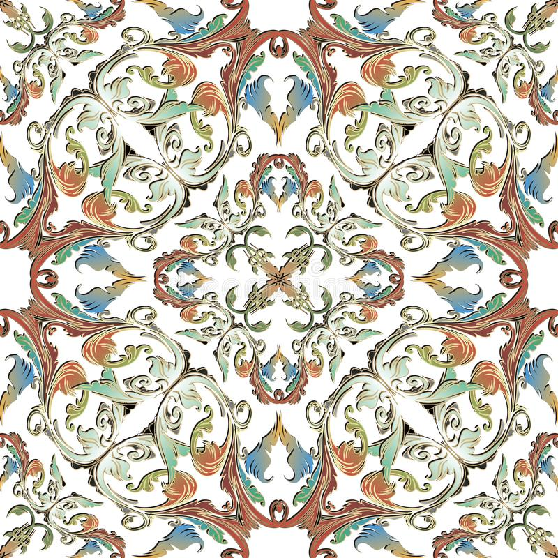 Modèle sans couture de vecteur baroque coloré ornemental sur le fond blanc Fleurs de cru, feuilles, rouleaux Contexte de damassé  illustration de vecteur