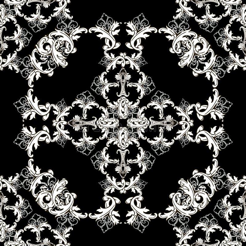 Modèle sans couture de vecteur baroque de cru Fond ornemental monochrome noir et blanc Cadre victorien baroque antique de style, illustration de vecteur