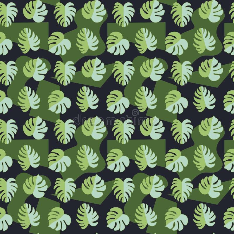 Modèle sans couture de vecteur, belles feuilles tropicales sur le fond foncé Endroits abstraits Style militaire Belles feuilles t photos libres de droits