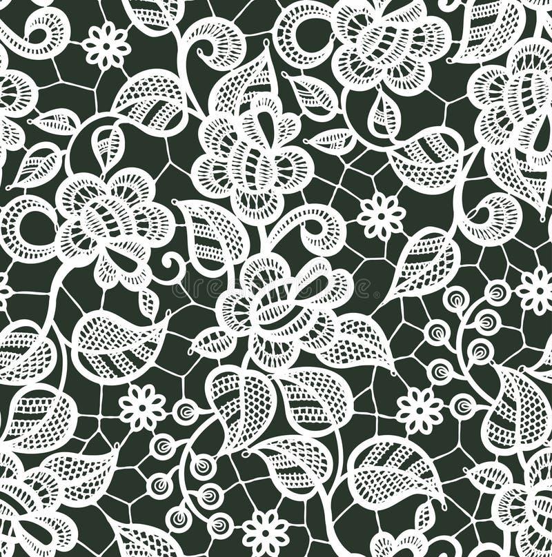Modèle sans couture de vecteur blanc de dentelle Configuration florale illustration stock