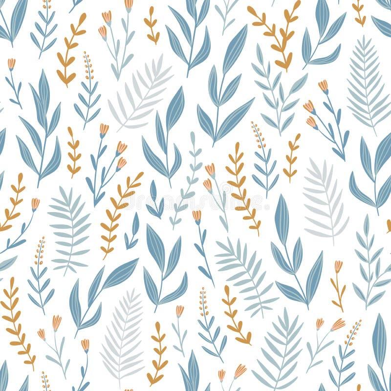 Modèle sans couture de vecteur bleu-clair avec des herbes et des fleurs Fond floral romantique Conception de tissu illustration libre de droits
