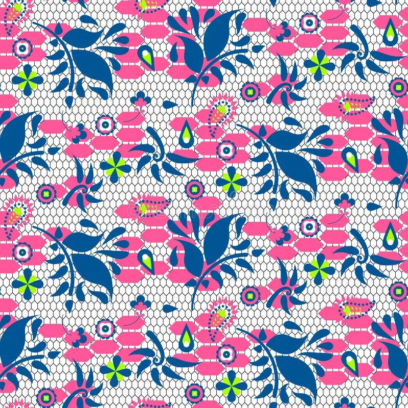 Modèle sans couture de vecteur bleu et rose de dentelle florale illustration stock