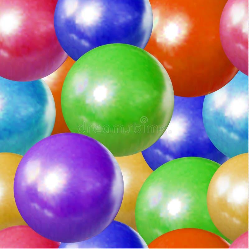 Modèle sans couture de vecteur, boules colorées fond, jouets d'enfants, bonbons à dragée, sphères en plastique illustration de vecteur
