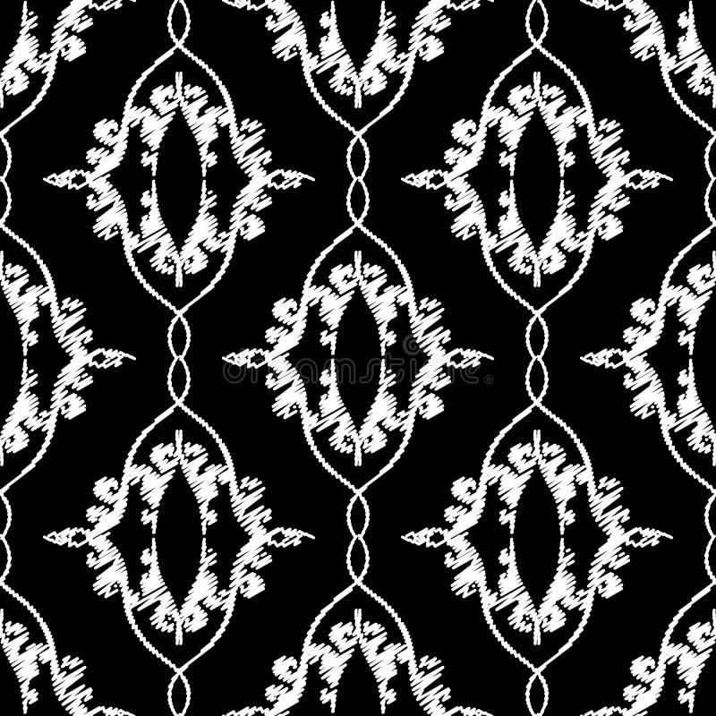 Modèle sans couture de vecteur de broderie de damassé Fond noir et blanc de tapisserie baroque Ornement brod? par cru r?p?tition illustration libre de droits