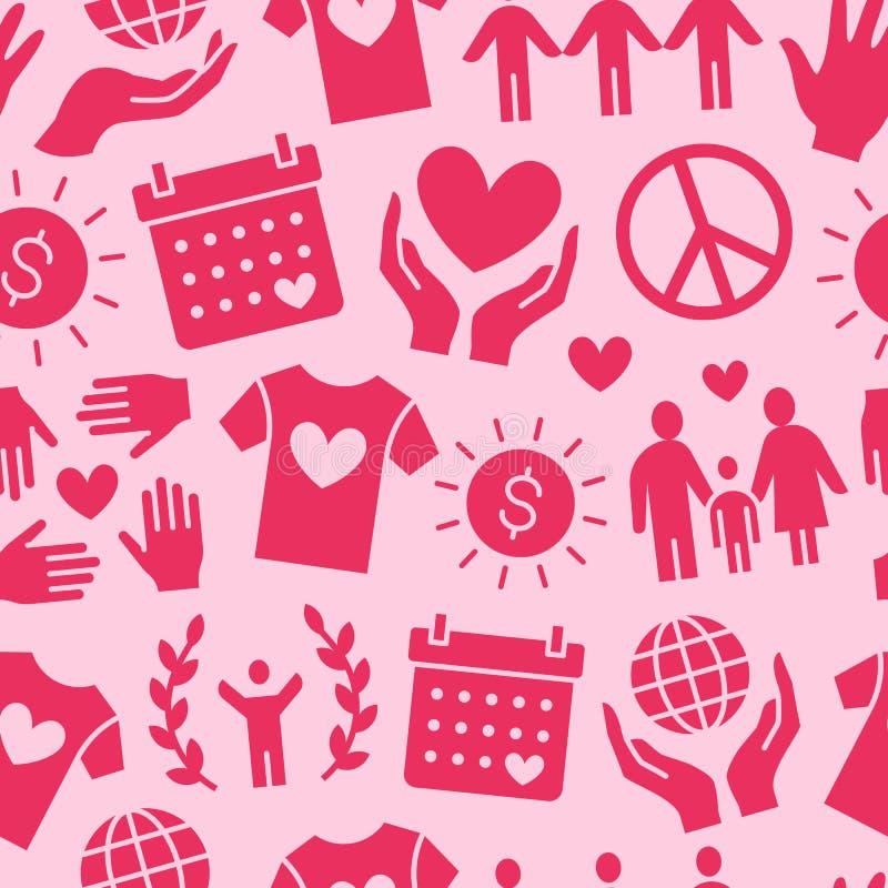 Modèle sans couture de vecteur de charité avec les icônes plates de silhouette Donation, organisation à but non lucratif, illustr illustration libre de droits