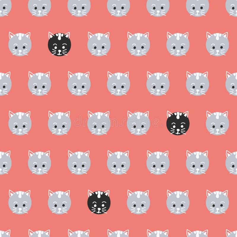 Modèle sans couture de vecteur de chats de point de polka Visages mignons de minou sur le rouge de corail de fond de cercles Les  illustration de vecteur