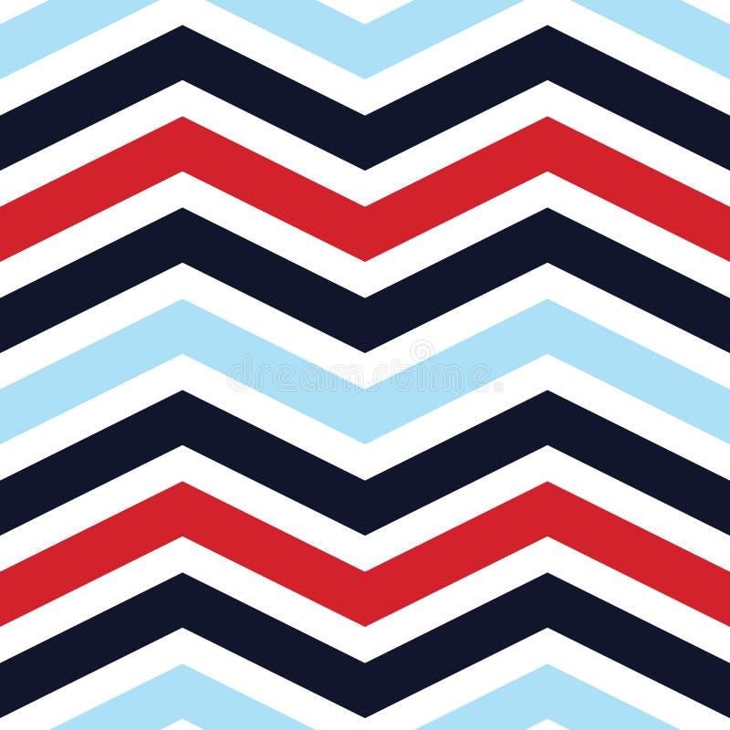 Modèle sans couture de vecteur classique avec le bleu chevrons de rouge et de bleu marine sur un fond bleu blanc illustration libre de droits