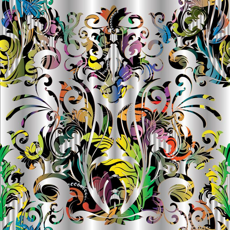 Modèle sans couture de vecteur coloré baroque Vint floral multicolore illustration stock