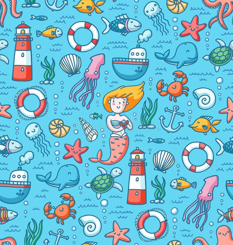 Modèle sans couture de vecteur coloré de vie marine illustration stock
