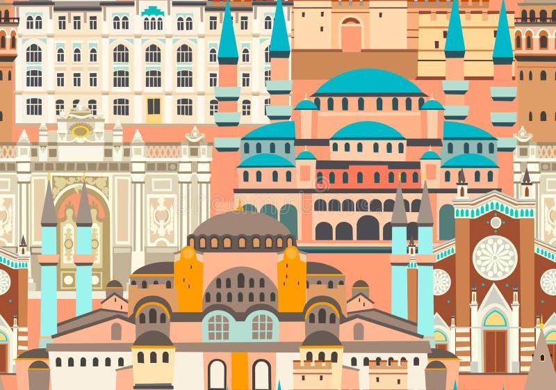 Modèle sans couture de vecteur coloré de ville d'Istanbul Bâtiment célèbre d'Istanbul illustration stock