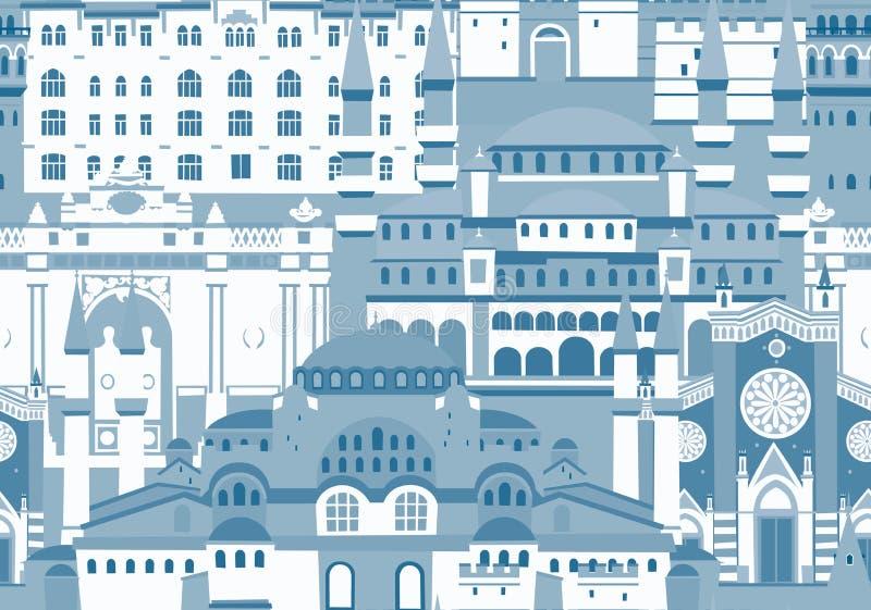 Modèle sans couture de vecteur coloré de ville d'Istanbul Couleurs bleues monochromes illustration libre de droits