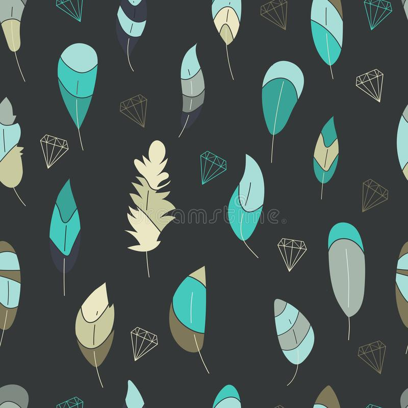 Modèle sans couture de vecteur, copie avec les plumes bleues, vertes, de turquise et les découpes des cristaux, diamants, pierres illustration libre de droits