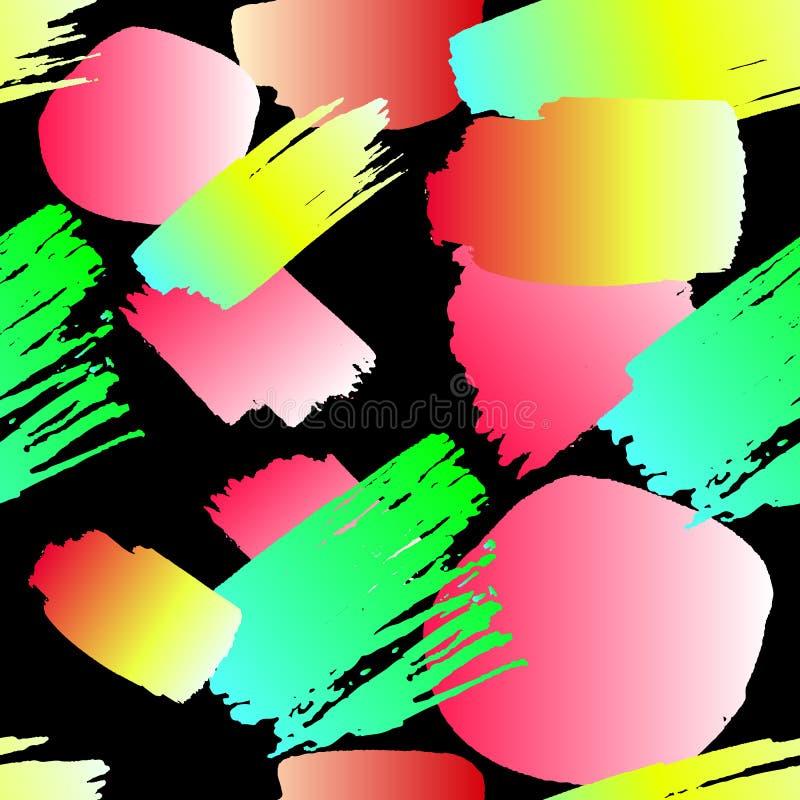 Modèle sans couture de vecteur : Courses au néon de pinceau, illustration colorée illustration stock