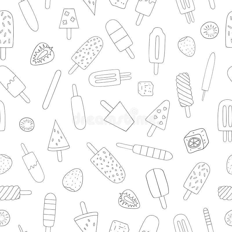 Modèle sans couture de vecteur de crème glacée noire et blanche illustration stock