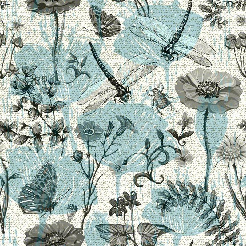 Modèle sans couture de vecteur d'été Papier peint botanique Usines, insectes, fleurs dans le style de vintage Papillons, libellul illustration stock