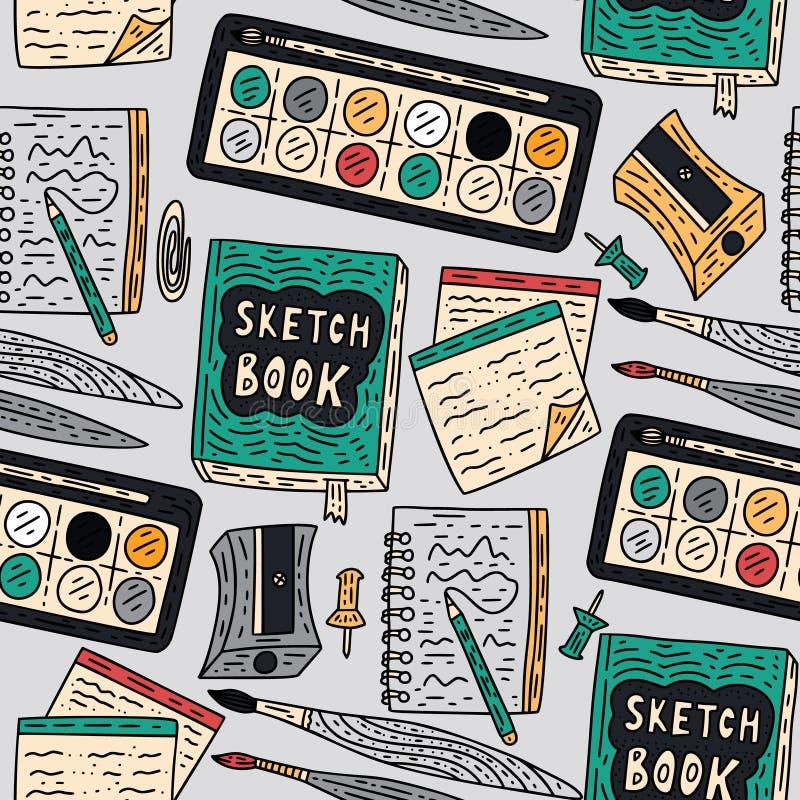 Modèle sans couture de vecteur d'accessoires d'écriture Approvisionnements de dessin de couleur de griffonnage pour l'école et l' illustration stock