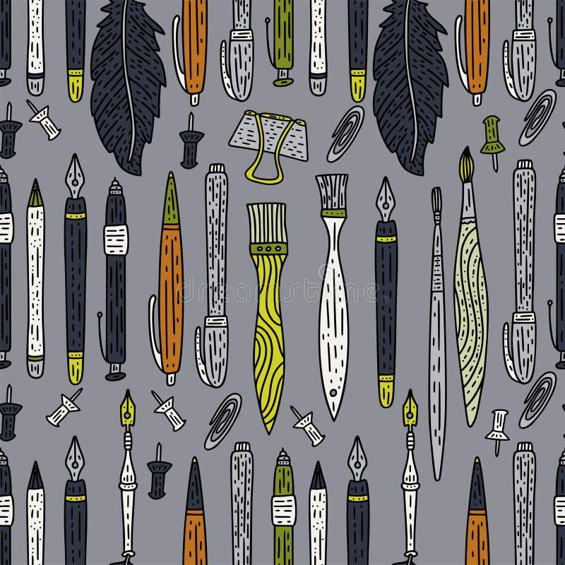Modèle sans couture de vecteur d'accessoires d'écriture Approvisionnements de dessin de couleur de griffonnage pour l'école et l' illustration libre de droits