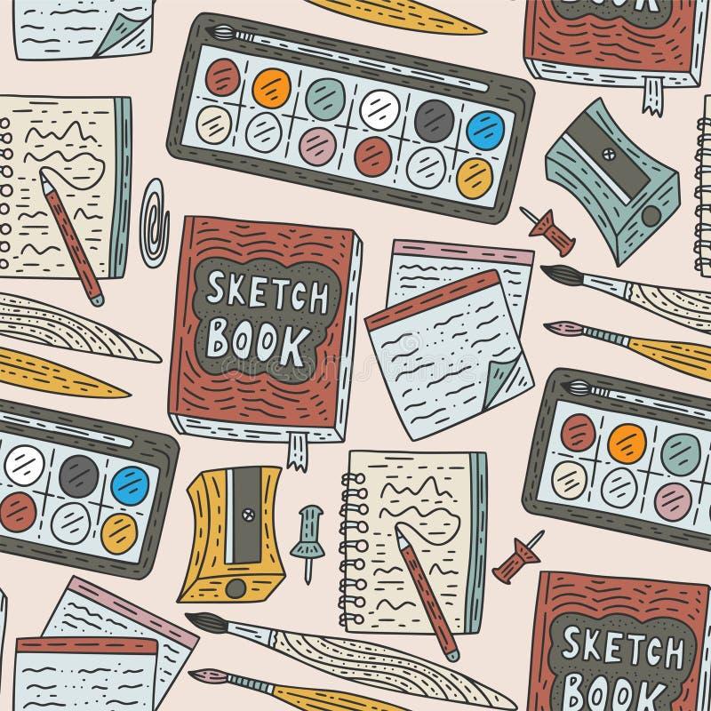 Modèle sans couture de vecteur d'accessoires d'écriture Approvisionnements de dessin de couleur de griffonnage pour l'école et ar illustration stock
