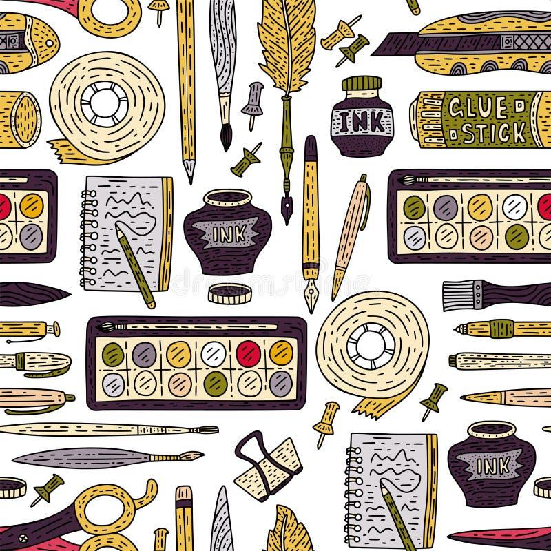 Modèle sans couture de vecteur d'accessoires d'art Approvisionnements de dessin de couleur de griffonnage pour l'école et l'art illustration libre de droits