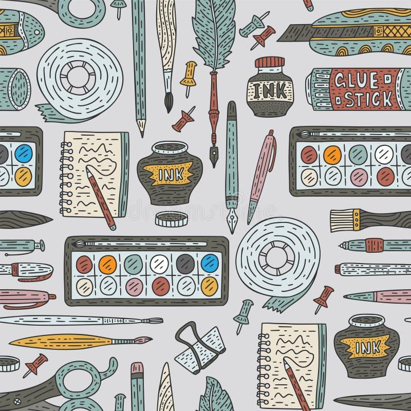 Modèle sans couture de vecteur d'accessoires d'art Approvisionnements de dessin de couleur de griffonnage pour l'école et l'art illustration de vecteur