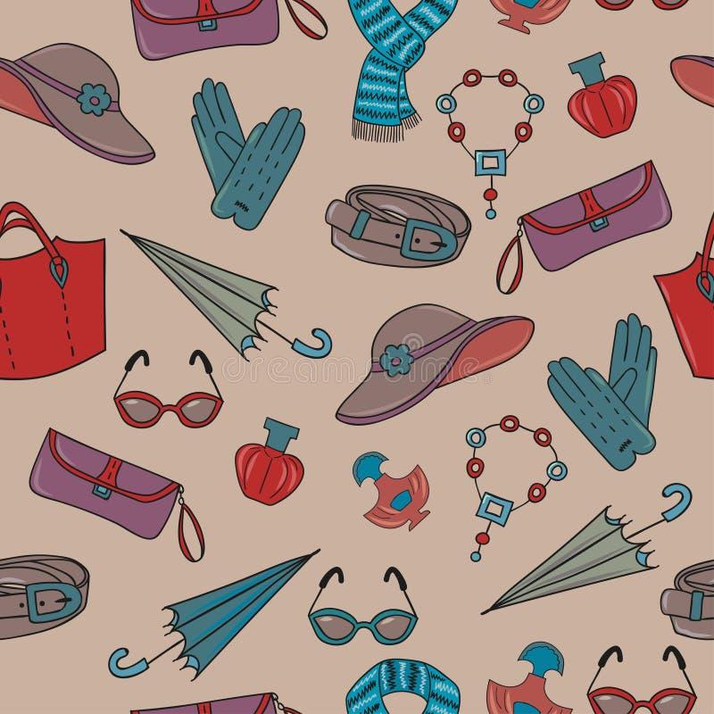 Modèle sans couture de vecteur d'accessoires de femme illustration de vecteur