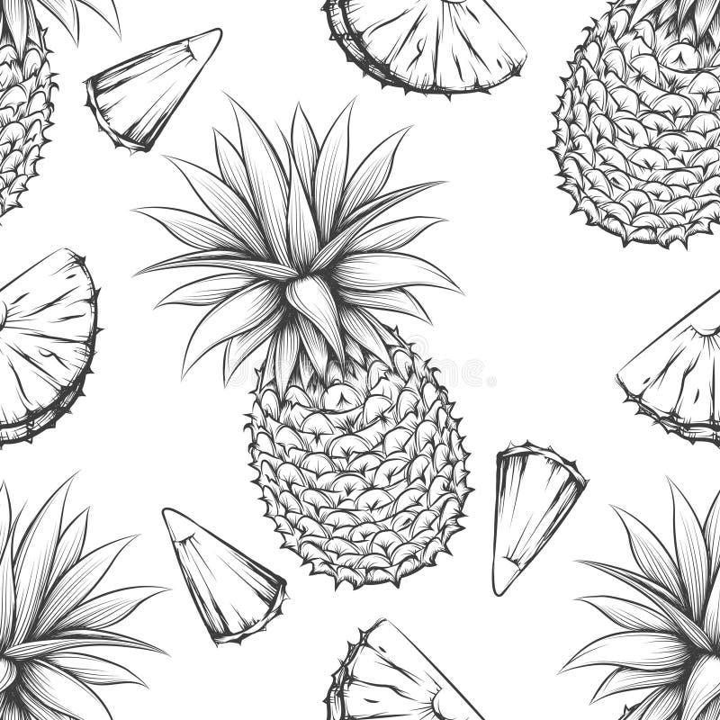 Modèle sans couture de vecteur d'ananas illustration stock