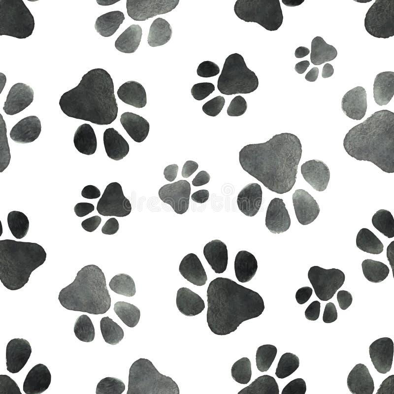 Modèle sans couture de vecteur d'aquarelle avec l'empreinte des pattes de chien illustration libre de droits