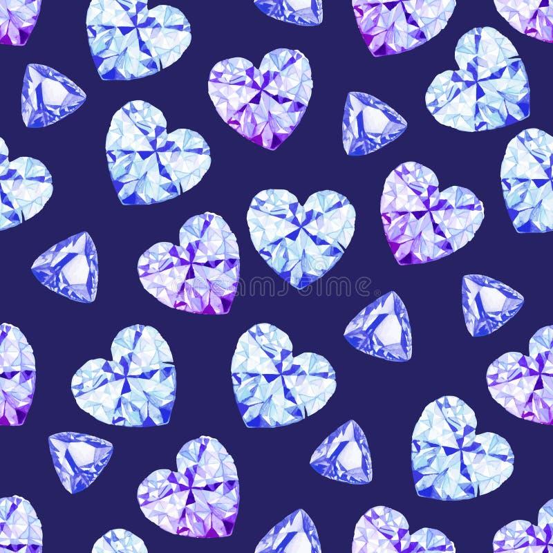 Modèle sans couture de vecteur d'aquarelle de diamants de marine illustration de vecteur