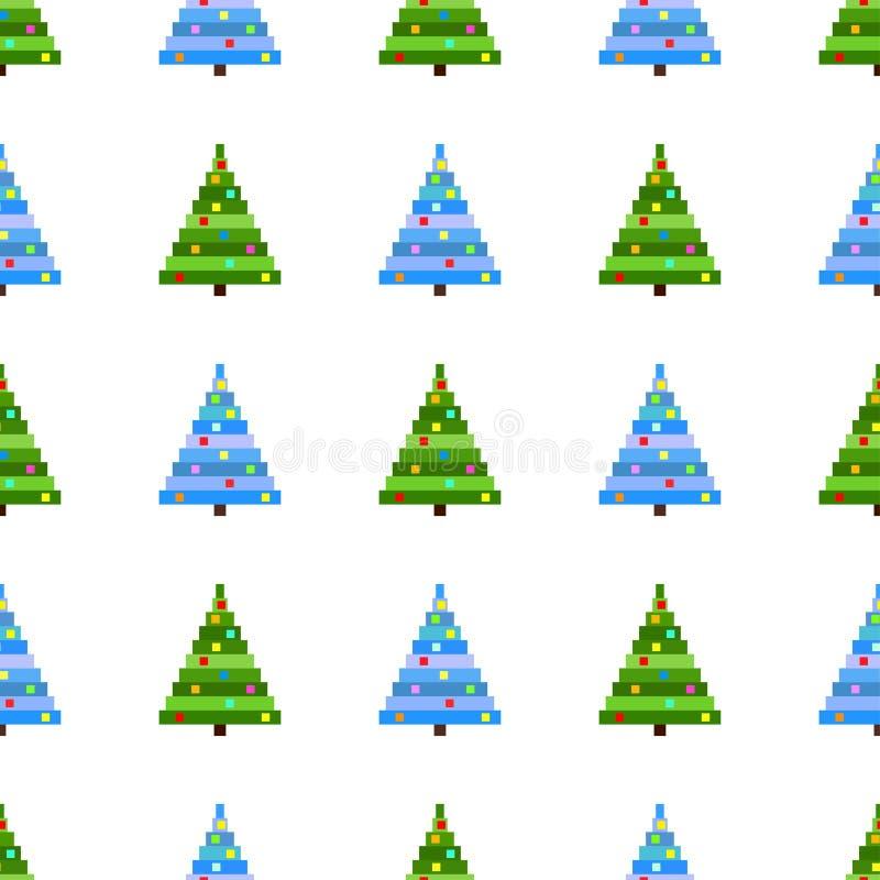 Modèle sans couture de vecteur d'arbre de Noël d'art de pixel sur le fond blanc Fond avec l'arbre de Noël vert et bleu illustration de vecteur