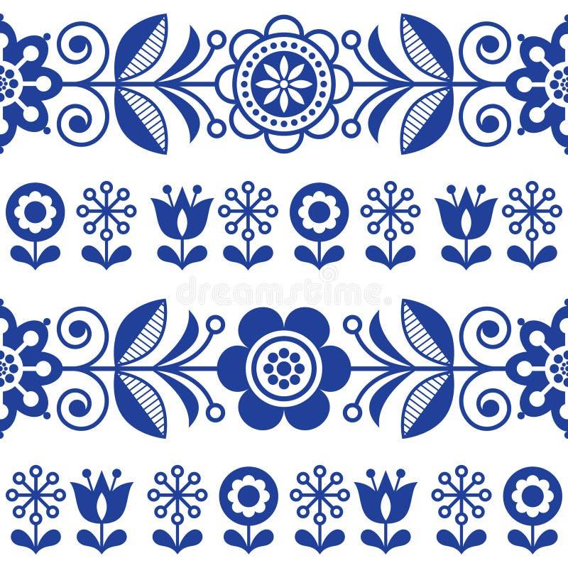 Modèle sans couture de vecteur d'art populaire avec des fleurs, conception répétitive florale de bleu marine - style scandinave illustration stock