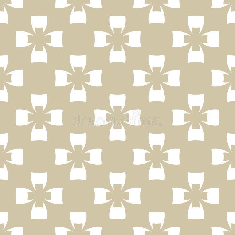 Mod?le sans couture de vecteur d'or g?om?trique de r?sum? avec des croix, formes florales illustration stock