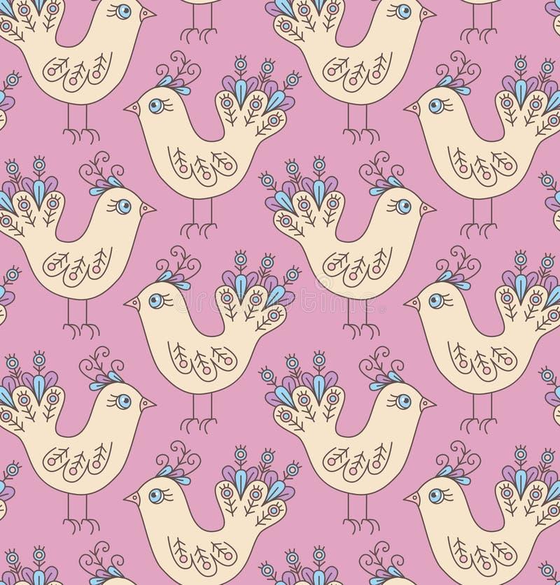 Modèle sans couture de vecteur d'oiseaux de griffonnage illustration libre de droits