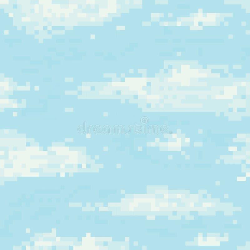 Modèle sans couture de vecteur de ciel d'art de pixel illustration stock