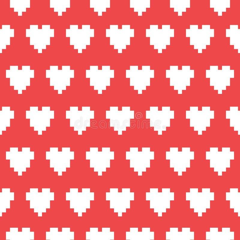 Modèle sans couture de vecteur de coeur d'art de pixel illustration libre de droits