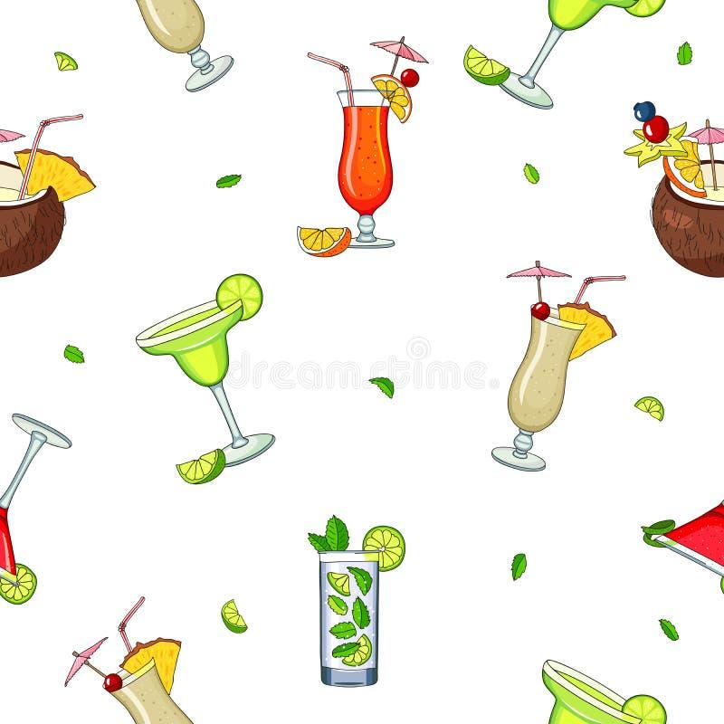 Modèle sans couture de vecteur de différents cocktails illustration libre de droits