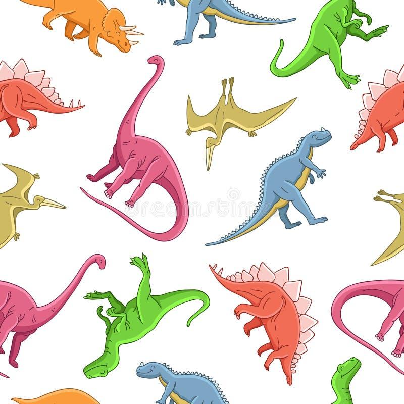 Modèle sans couture de vecteur de différents dinosaures illustration libre de droits