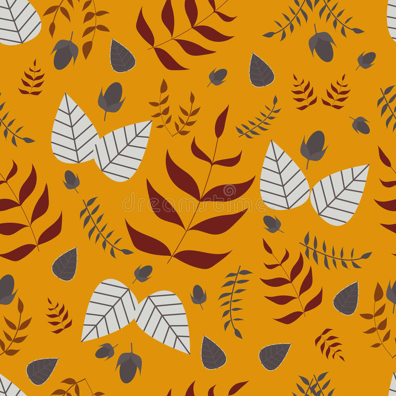 Modèle sans couture de vecteur de feuilles et de glands illustration stock