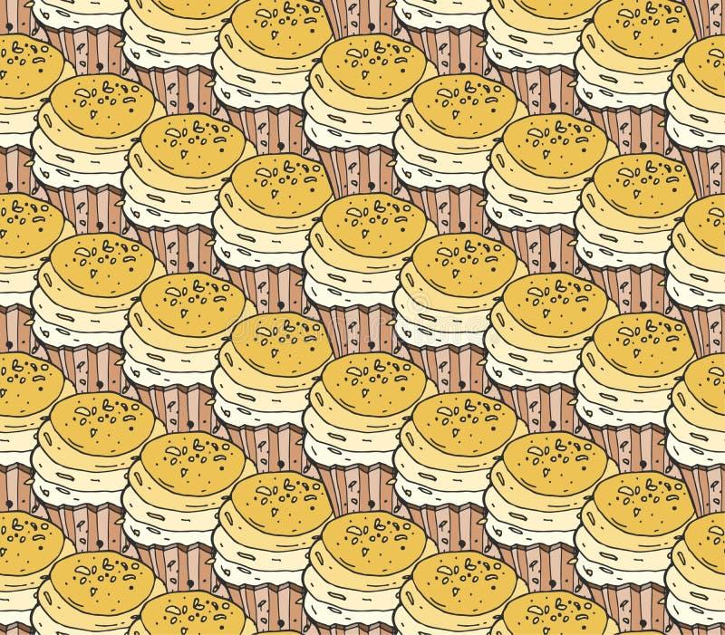 Modèle sans couture de vecteur de griffonnage de bonbons jaunes à petits gâteaux tiré par la main Fond de boulangerie de vintage illustration libre de droits